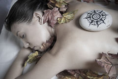 Spa.portrait of young beautiful woman in spa environment Royalty Free Stock Images
