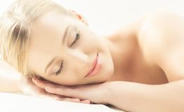 Spa portrait of young, healthy and beautiful woman isolated on white. stock images