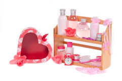 SPA present and red heart shaped gift box isolate Stock Photo