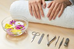 Spa procedure for female hands. Stock Photos