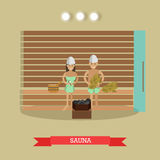 Spa procedure sauna concept vector illustration in flat style. Vector illustration of young couple enjoying steam sauna. Spa procedures concept design element in Royalty Free Stock Photos