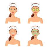Spa procedure. Vector illustration of a beautiful women with fac Stock Photo