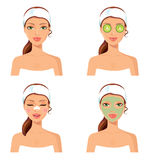 Spa procedure. Vector illustration of a beautiful women with fac Royalty Free Stock Photo