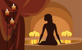 At Spa procedures. Vector silhouette of a woman at spa procedures Stock Photo