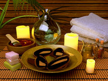 Spa procedures with essence oil, natural soap, soft towel Royalty Free Stock Image