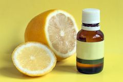 Lemon organic essential oil. stock image