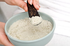 Spa procedures with sea salt. Beautician Stock Image
