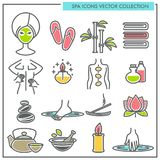 Spa procedures and services themed icons vector collection Stock Photography