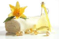 Spa products. Spa composition with massage oil isolated on white background Stock Photo