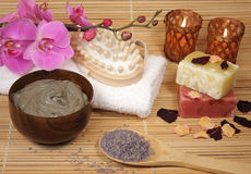 Spa products. Orchid with spa products 2 Stock Photos