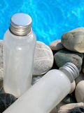 Spa Products. In bottles by the pool Stock Image