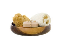 Spa products. On a wooden dish against white background royalty free stock image