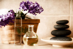 Spa products. Day spa products with stones, oil container, flowers royalty free stock photo