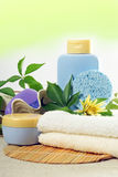 SPA Products. SPA cosmetics, bathroom composition with natural products royalty free stock images