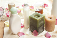 Spa products. Spa natural products on wood royalty free stock image