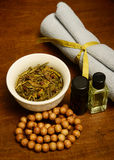 Spa products for aromatherapy treatment Stock Image