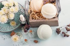 Spa products with bath bombs stock image