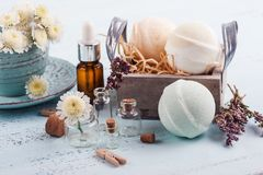 Spa products with bath bombs stock photos