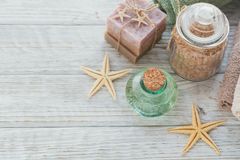 Spa products for facial and body care. Homemade soap, natural oi Royalty Free Stock Image