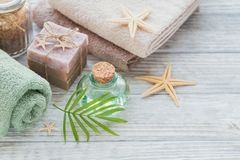 Spa products for facial and body care. Homemade soap, natural oi Royalty Free Stock Photo