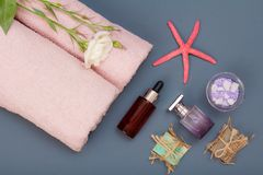 Spa products for facial and body care. Sea salt, homemade soap and towels. Spa products for facial and body care. Natural sea salt, homemade soap, aromatic oil royalty free stock photo