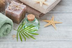 Spa products for facial and body care. Royalty Free Stock Image