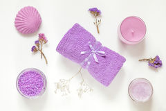 Spa products. Flat lay violet purple concept. Stock Image