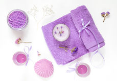 Spa products. Flat lay violet purple concept. Royalty Free Stock Images