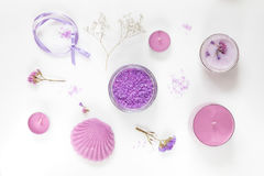 Spa products. Flat lay violet purple concept. Stock Photo