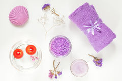 Spa products. Flat lay violet purple concept. Royalty Free Stock Image