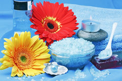 Spa products, and flowers Stock Photo