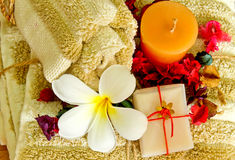 Spa products with flowers Stock Photography