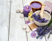 Spa products and lavender flowers Stock Image