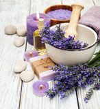 Spa products and lavender flowers Royalty Free Stock Photos