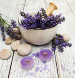 Spa products and lavender flowers Stock Photo