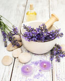 Spa products and lavender flowers Royalty Free Stock Photography