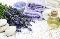 Spa products and lavender flowers Royalty Free Stock Image