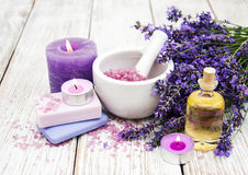 Spa products with lavender Stock Images