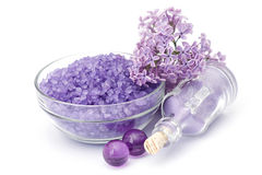 Spa products and lilac flowers Stock Photos