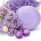 Spa products and lilac flowers Stock Images