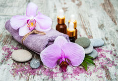 Spa products with orchids Royalty Free Stock Image