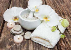 Spa products with orchids Royalty Free Stock Photos