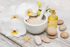 Spa products with orchids Stock Photo