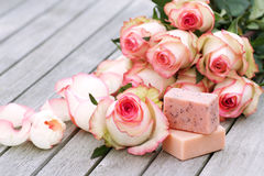 Spa products with rose Stock Photography