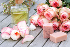 Spa products with rose Royalty Free Stock Images
