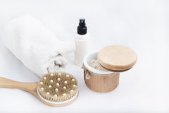 Spa products some bath accessories. Beauty relaxation and body care. Closeup spa products some bath accessories on white background Stock Photography