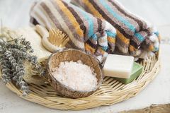 Spa products with towels,bath salt and marseille soaps Royalty Free Stock Image