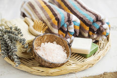 Spa products with towels,bath salt and soaps Royalty Free Stock Image