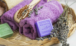 Spa products with towels,lavender soap Stock Images