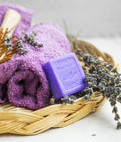 Spa products with towels,lavender soap Royalty Free Stock Images